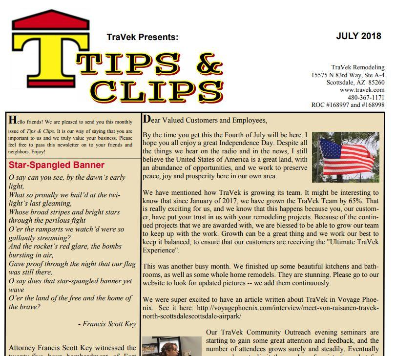 TraVek Inc Tips and Clips Newsletter July 2018